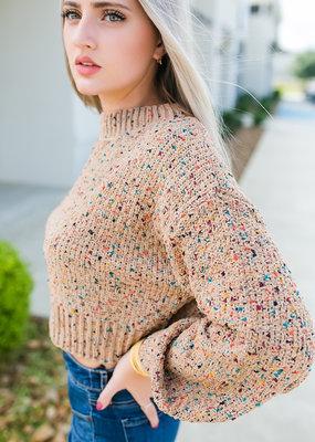 HYFVE Camel Multi Sweater with Sparkle Threading