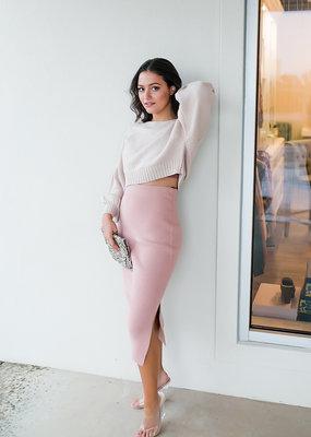 HYFVE Misty Rose Sweater Midi Skirt