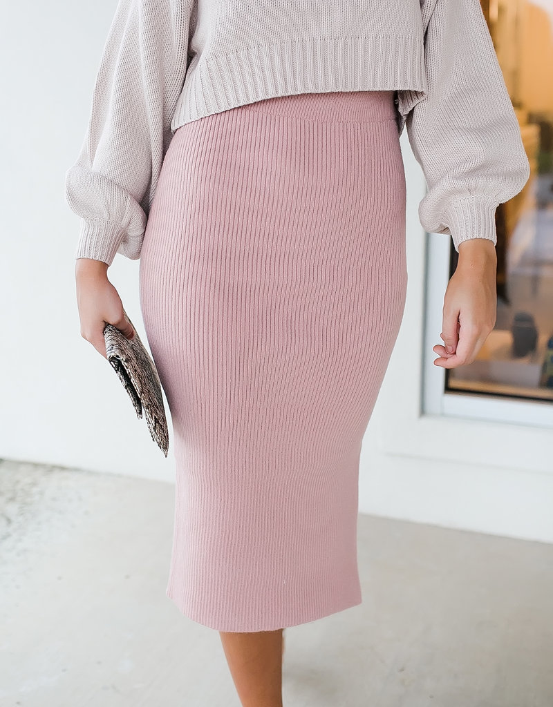 HYFVE Misty Rose Sweater Midi Skirt