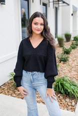 RD USA International Black V-neck Cropped Sweater