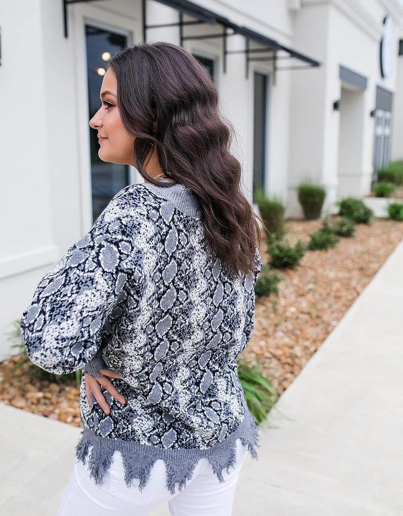 Black Snake Skin Fringe Sweater