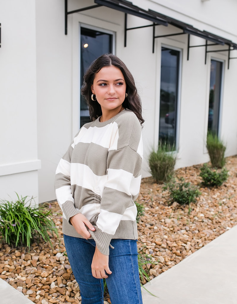 Light Olive and Cream Striped Sweater