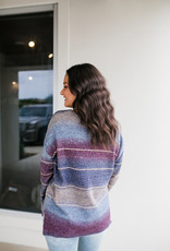 Purple and Blue V-neck Sweater