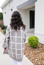 White and Tan Plaid Long Cardigan