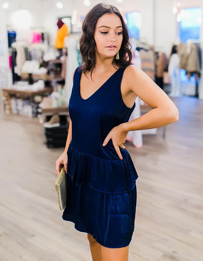 Pinch Navy Blue Ruffle Bottom Dress