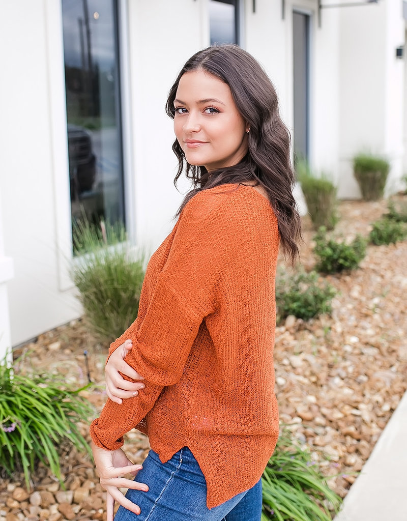 HYFVE Rust V Neck Light Layering Sweater