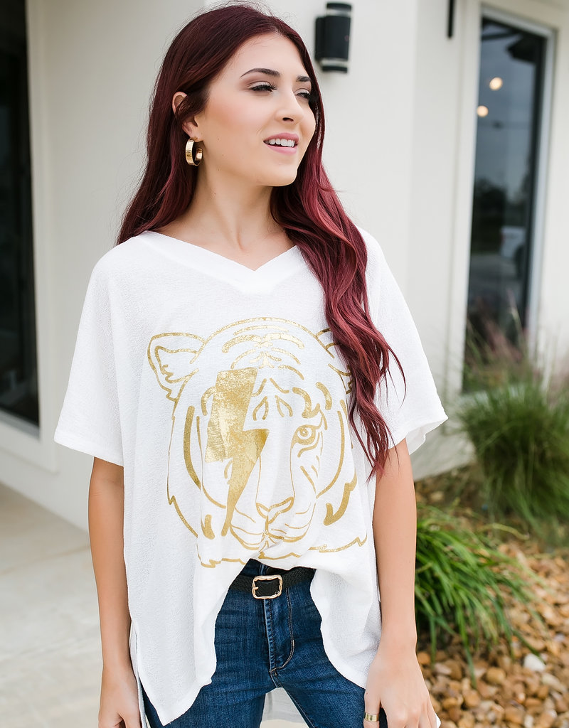 Judith March Go Tigers Tunic-Off White