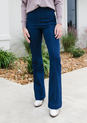 Dark Denim High Rise Pull On Flare