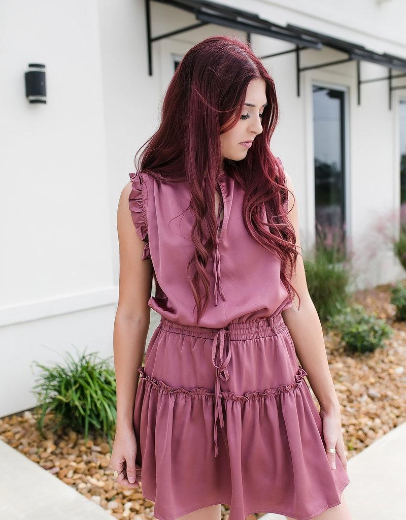 Pinch Mauve Tiered Mini Dress