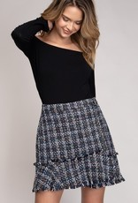 Blue/Multi Tweed Skirt