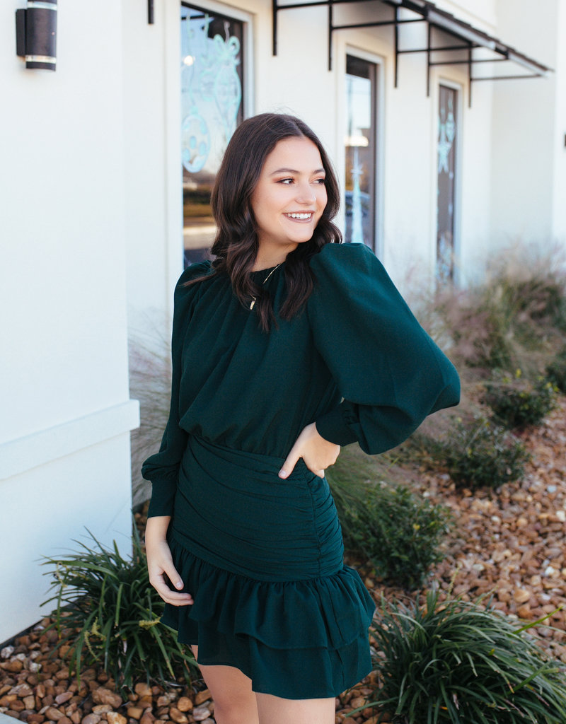 TCEC Hunter Green Longsleeve Dress with Ruched Bottom