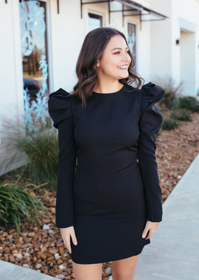 TCEC Black Long Puff Sleeve Dress with Belt