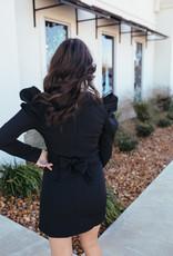 TCEC Black Long Puff Sleeve Dress with Belt