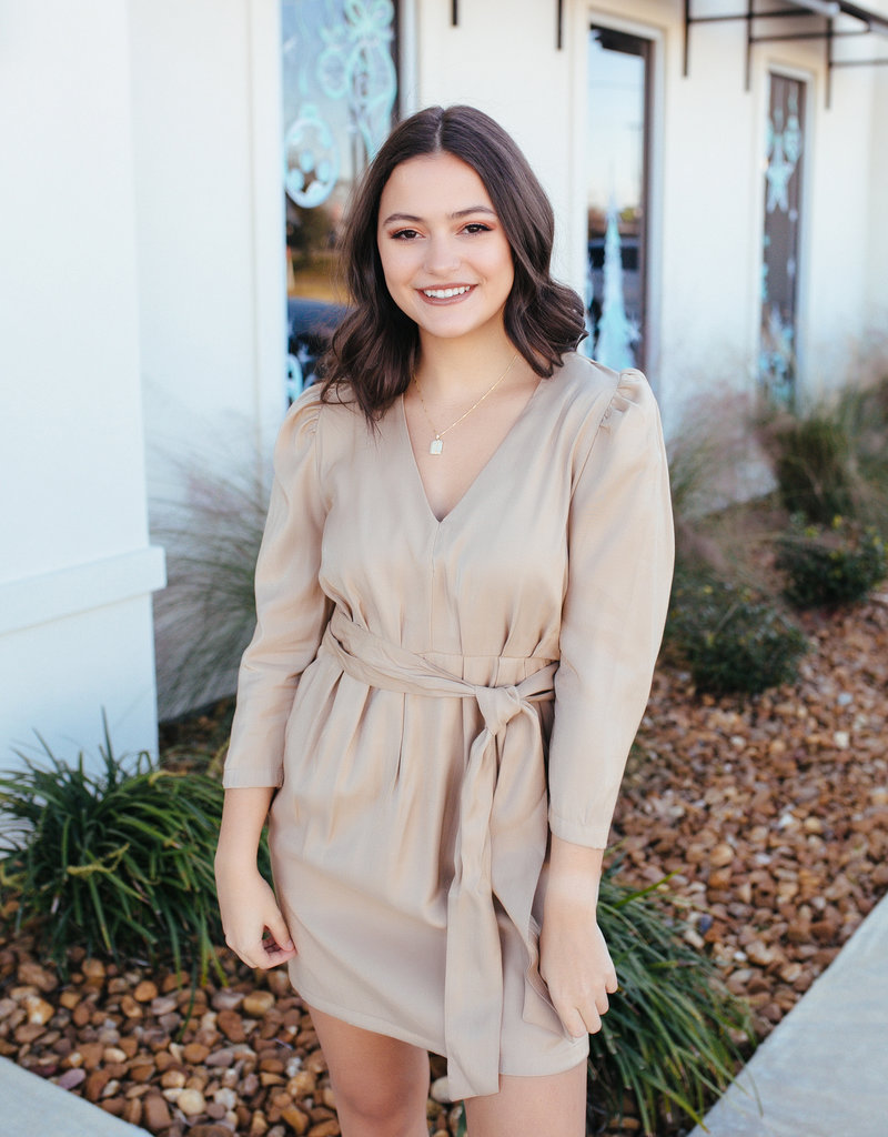 Pinch Taupe Longsleeve Dress with Belt Tie