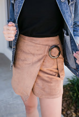 Hem & Thread Camel Suede Skirt Wrap Skort