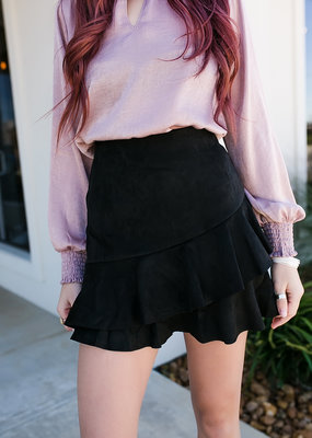 Black Suede Ruffle Skirt