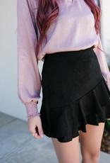 Black Suede Ruffle Skirt