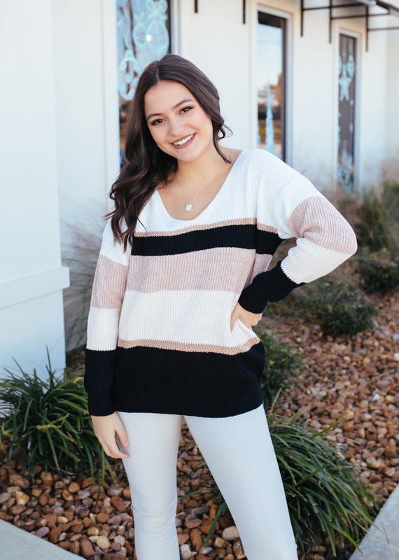 Lily Clothing Lily's Color Block Striped Sweater