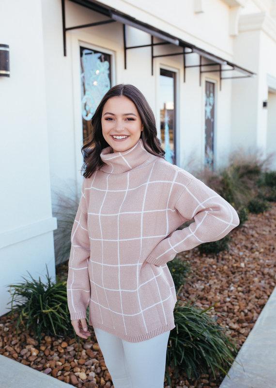 Lily Clothing Khaki Plaid Turtleneck Sweater