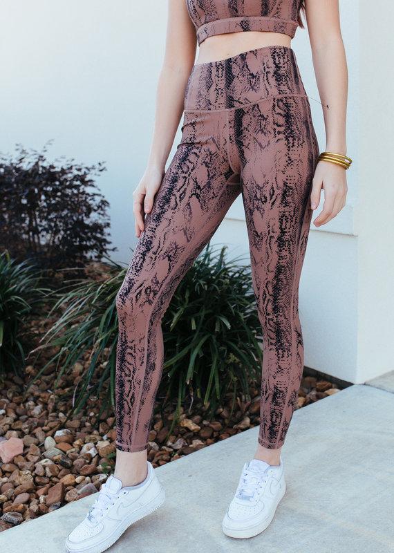 Mono B Dark Pink Snake Print Highwaist Leggings