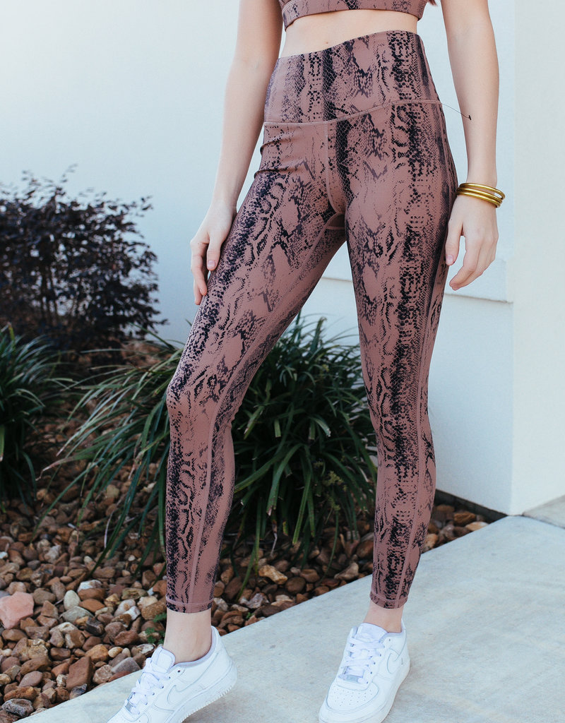 Mono B Dark Pink Snake Print Highwaist Leggings