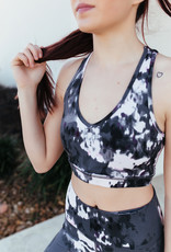 Mono B Aspen Print Pulled Halter Back Sports Bra