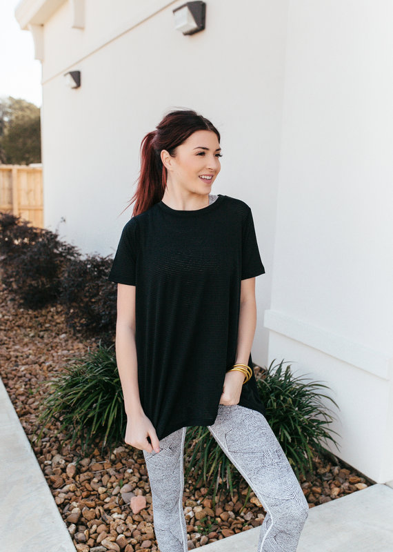 Mono B Striped Mesh Active Shirt