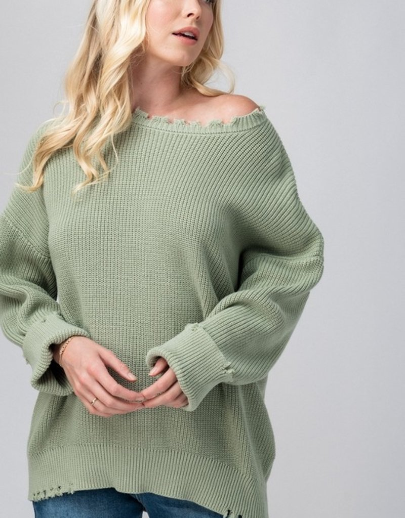 Trend:Notes Frayed Hem Rib Knit Oversized Sweater