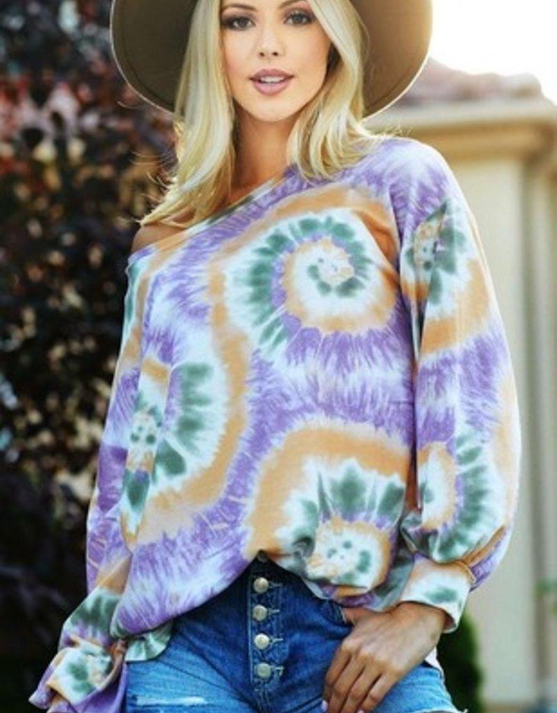 BiBi Tie Dye Mardi Gras Long-Sleeve Top
