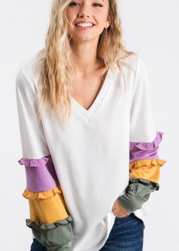 BiBi Mardi Gras White V neck with Color Block Ruffle Purple/Gold Sleeve