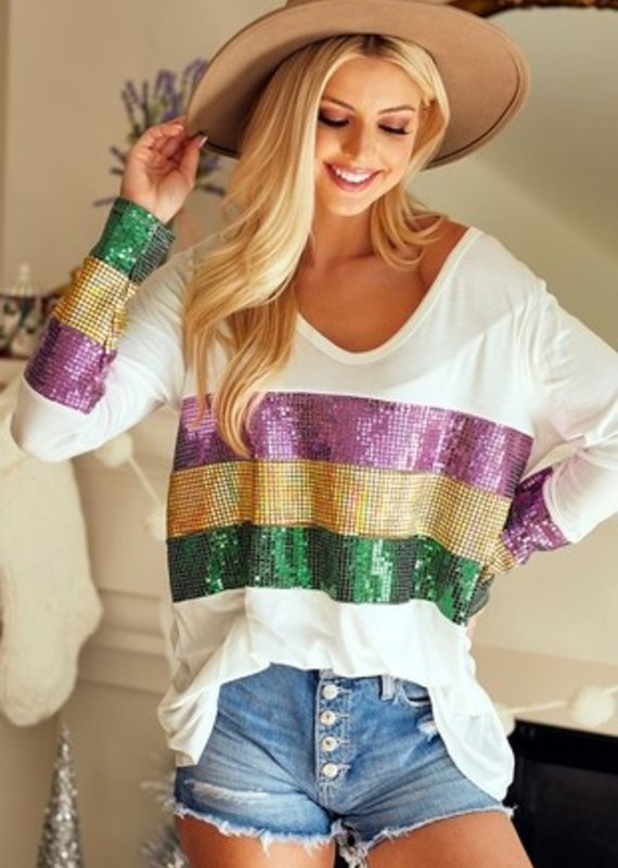 BiBi Mardi Gras Long Sleeve Top with Sequins