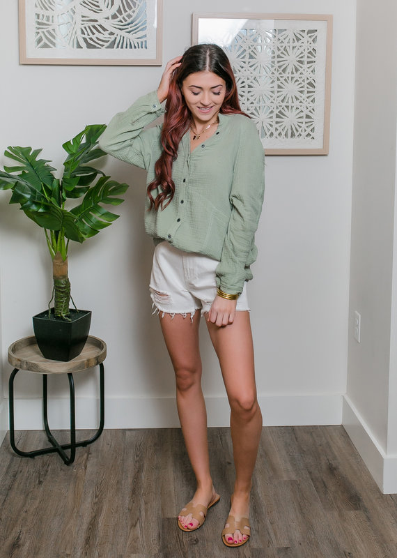 Trend:Notes Cotton Gauze Button Down Oversized Shirt