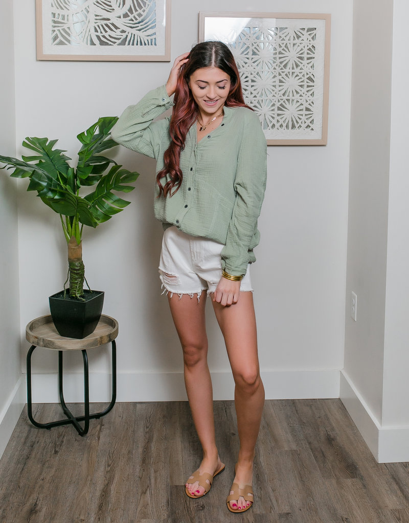 Trend:Notes Cotton Gauze Button Down Oversized Shirt
