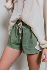 Trend:Notes Rope Drawstring Linen Shorts