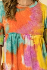 HYFVE Orange Multi Color Tie Dye Top