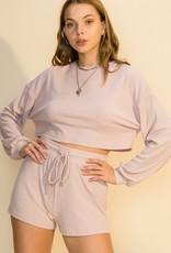 HYFVE Mauve Drop Shoulder Pullover & Shorts Set