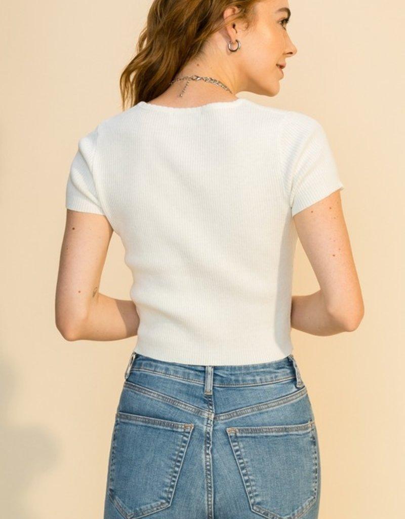 HYFVE Scalloped Edge Neck Crop Short Sleeve Sweater