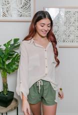 HYFVE Cream Long Sleeve Button Up Top