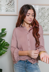 HYFVE Mauve Collared Lantern Sleeve Button Down Blouse