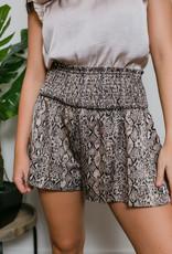 TCEC Snake Print Smocked Shorts