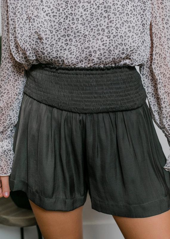 TCEC Charcoal Smocked Waist Shorts