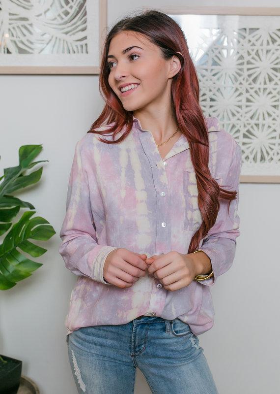Button Down Tie Dye Shirt w/ Pocket
