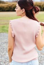 Trend:Notes Rib Knit Ruffle Trim Sleeveless Top