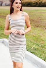 HYFVE Olive And White Striped Midi Dress