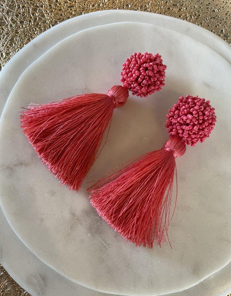 Pink Pom tassels