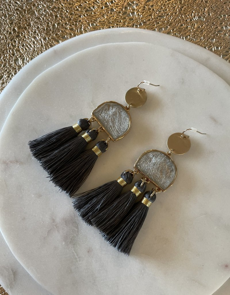 Grey and Gold Tassel Earrings