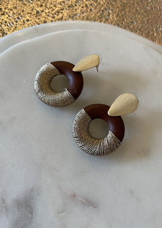 Nakamol Chicago Wooden Round With Gold Earring