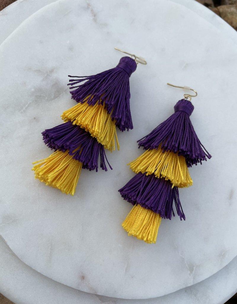 Royal Standard Spirit Tassel Earrings Purple/Yellow