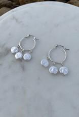 Three Freshwater Pearl Silver Drop Hoop Earring
