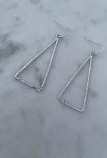 Silver Trianle Dangle Earrings